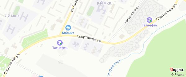 Спортивная улица на карте Нижнекамска с номерами домов