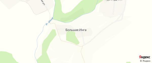 Карта деревни Большей Инги в Удмуртии с улицами и номерами домов