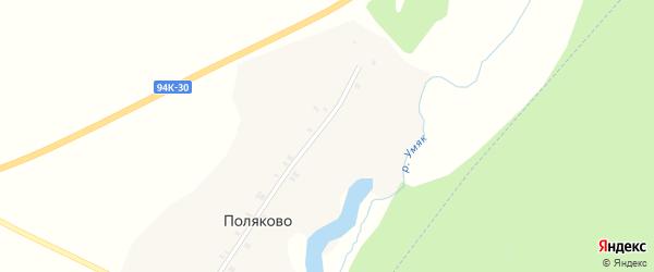 Лесная улица на карте деревни Поляково Удмуртии с номерами домов