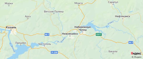 Карта Елабужского района Республики Татарстана с городами и населенными пунктами