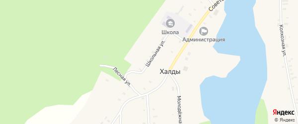 Школьная улица на карте села Халды Удмуртии с номерами домов