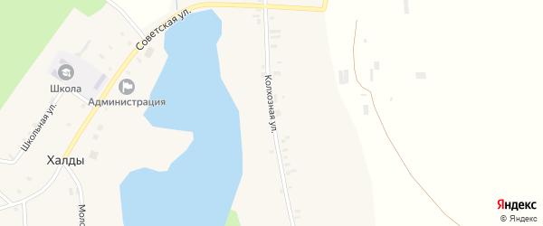 Колхозная улица на карте села Халды Удмуртии с номерами домов