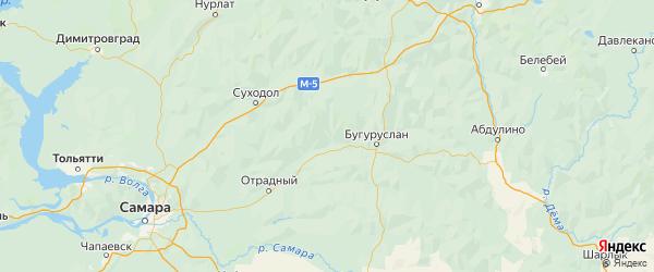 Карта Похвистневского района Самарской области с городами и населенными пунктами