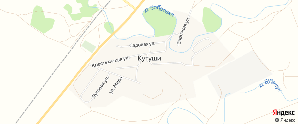 Карта села Кутуши в Оренбургской области с улицами и номерами домов