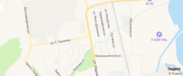 Карта поселка Нового Города города Заинска в Татарстане с улицами и номерами домов