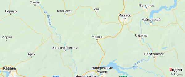 Карта Можгинского района Республики Удмуртии с городами и населенными пунктами