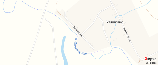Речная улица на карте деревни Утяшкино Татарстана с номерами домов