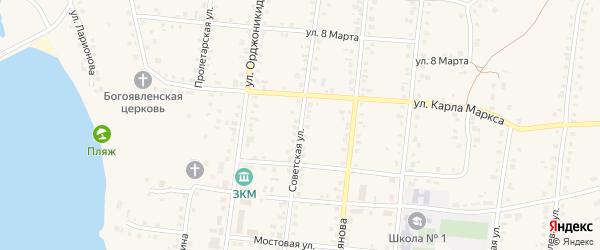 Советская улица на карте Заинска с номерами домов