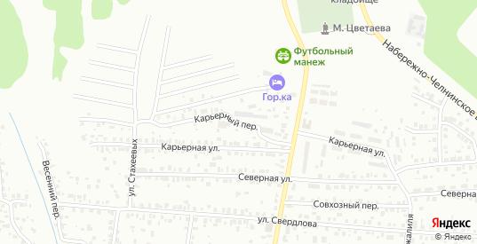 Карьерный переулок в Елабуге с номерами домов на карте. Спутник и схема онлайн