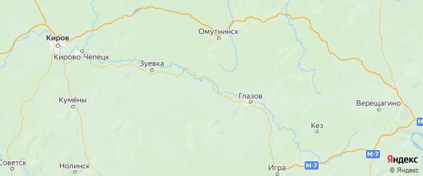 Карта Ярского района Республики Удмуртии с городами и населенными пунктами