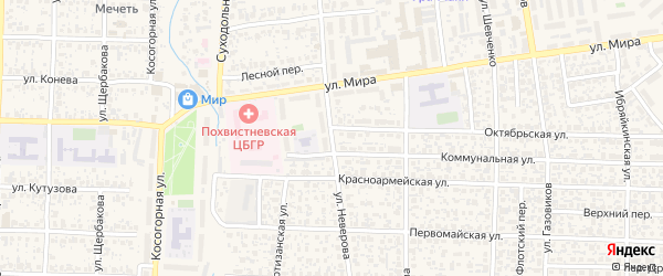 Улица Неверова на карте Похвистнево с номерами домов