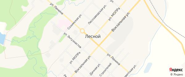 Карта Лесного поселка в Кировской области с улицами и номерами домов