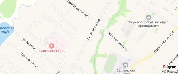 Пролетарская улица на карте села Селты Удмуртии с номерами домов