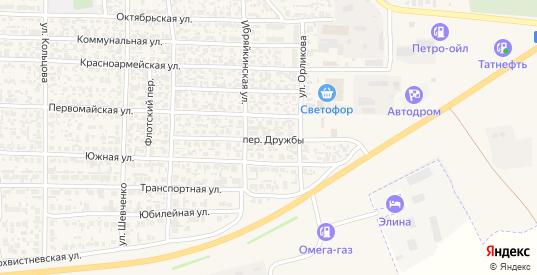 Переулок Дружбы в Похвистнево с номерами домов на карте. Спутник и схема онлайн
