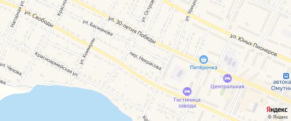 Переулок Некрасова на карте Омутнинска с номерами домов
