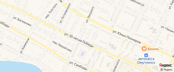 Переулок Тухачевского на карте Омутнинска с номерами домов