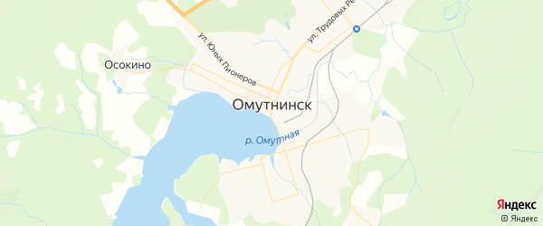Карта Омутнинска с районами, улицами и номерами домов