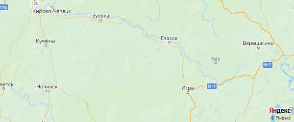 Карта Юкаменского района Республики Удмуртии с городами и населенными пунктами