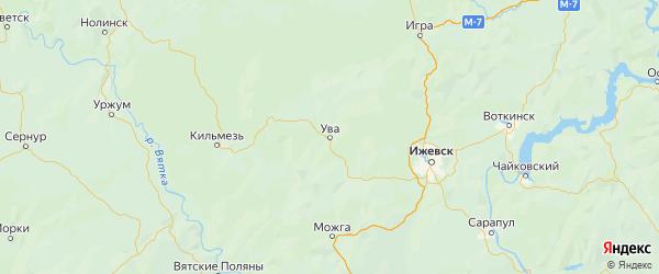 Карта Увинского района Республики Удмуртии с городами и населенными пунктами