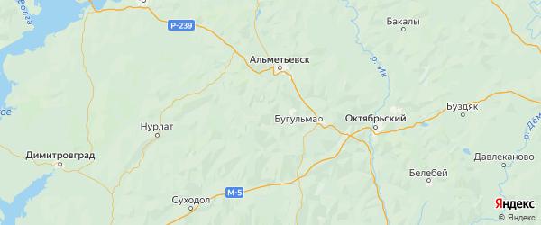 Карта Лениногорского района Республики Татарстана с городами и населенными пунктами