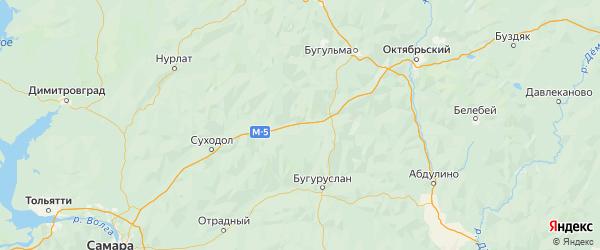 Карта Камышлинского района Самарской области с городами и населенными пунктами