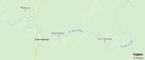 Карта Корткеросский района Республики Коми с городами и населенными пунктами