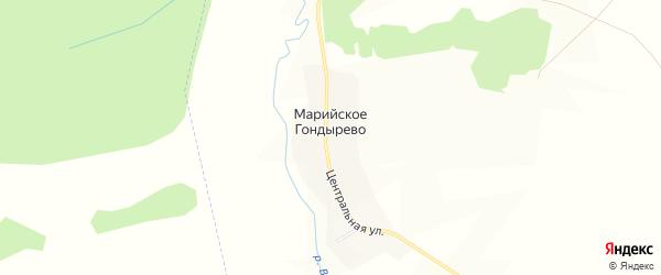 Карта деревни Марийское Гондырево в Удмуртии с улицами и номерами домов