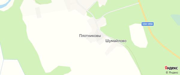 Карта деревни Плотниковы в Кировской области с улицами и номерами домов