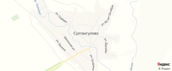 Карта села Султангулово в Самарской области с улицами и номерами домов