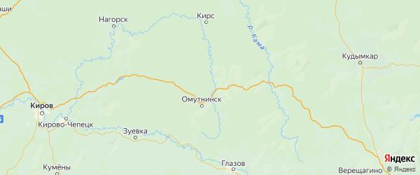 Карта Омутнинского района Кировской области с городами и населенными пунктами