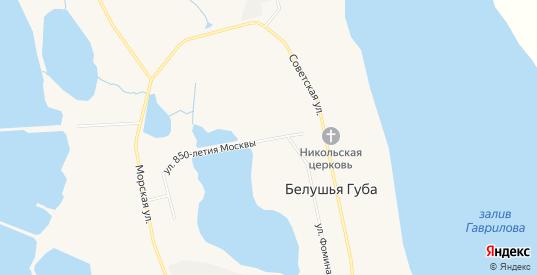 Карта поселка Белушья Губа в Архангельской области с улицами, домами и почтовыми отделениями со спутника онлайн