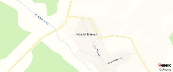 Карта Новой Вамьи деревни в Удмуртии с улицами и номерами домов