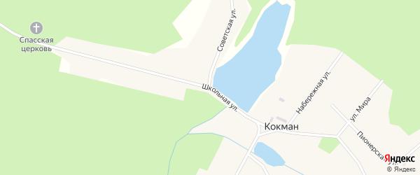 Школьная улица на карте села Кокмана Удмуртии с номерами домов