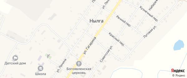 Улица Гагарина на карте села Нылги Удмуртии с номерами домов