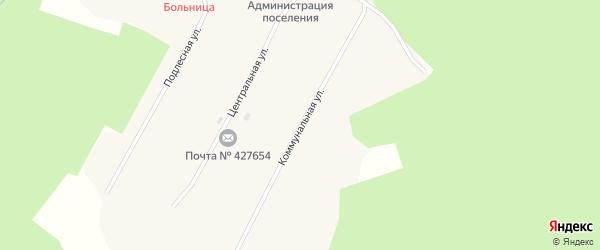 Коммунальная улица на карте села Кокмана Удмуртии с номерами домов