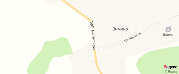 Центральная улица на карте деревни Зимино Кировской области с номерами домов