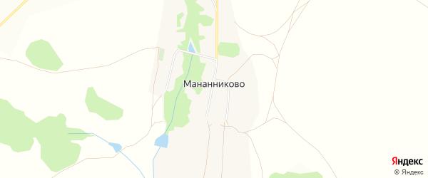Карта села Мананниково в Оренбургской области с улицами и номерами домов