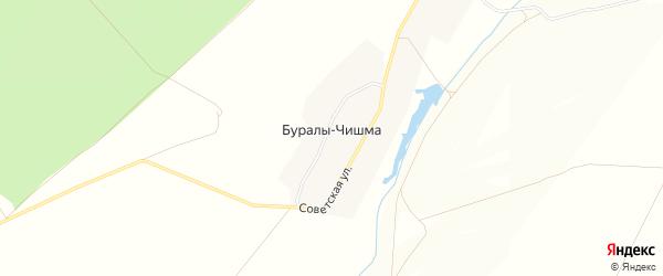 Карта деревни Буралы-Чишма в Татарстане с улицами и номерами домов