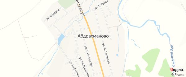 Карта села Абдрахманово в Татарстане с улицами и номерами домов