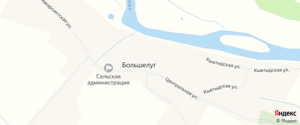Карта села Большелуг в Коми с улицами и номерами домов