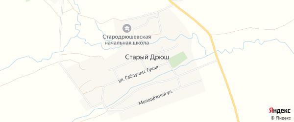 Карта села Старого Дрюша в Татарстане с улицами и номерами домов