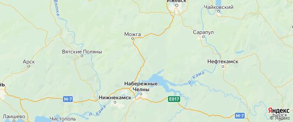Карта Алнашского района Республики Удмуртии с городами и населенными пунктами
