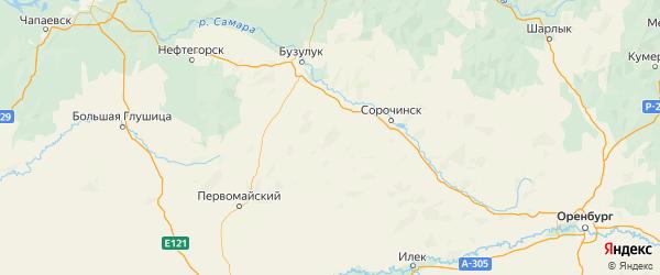 Карта Тоцкого района Оренбургской области с городами и населенными пунктами