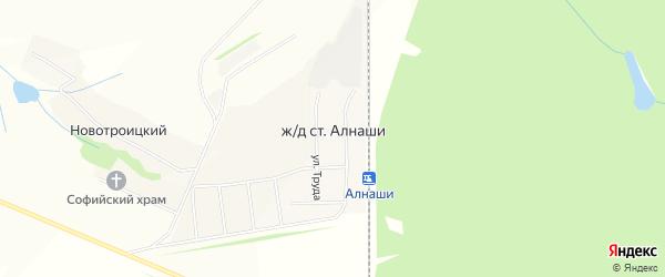 Карта станции Железнодорожной станции Алнаши в Удмуртии с улицами и номерами домов