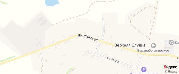 Школьная улица на карте деревни Верхней Слудка Удмуртии с номерами домов