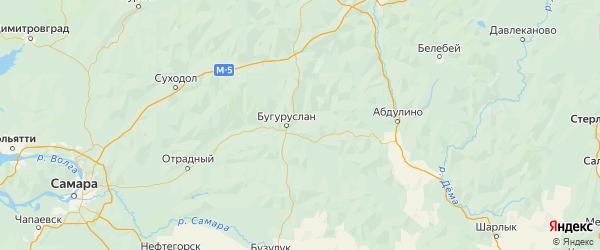 Карта Бугурусланского района Оренбургской области с городами и населенными пунктами