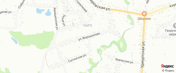 Улица Ворошилова на карте Глазова с номерами домов