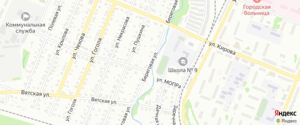 Береговая улица на карте Глазова с номерами домов