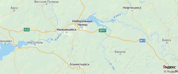 Карта Тукаевского района Республики Татарстана с городами и населенными пунктами