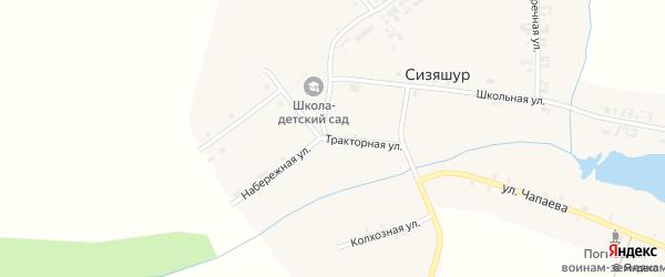Тракторная улица на карте деревни Сизяшура Удмуртии с номерами домов